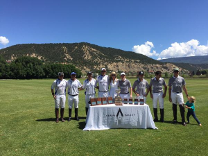 Valiente (left) and Tonkawa (right) line up for trophy presentations in the final of the Mount Sopris Cup, won by Valiente