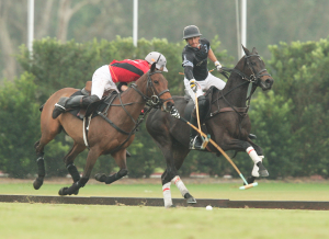 2014 National Twenty-Goal action at the Grand Champions Polo Club.  Nic Roldan in black jersey. (Photo by Alex Pacheco)