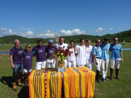 Players in the Jr Copa - l to r Team Magness - Gary and Cable Magness, Galgo Hernández, Giancarlo Brignone - Team Agua Alta 2 - Alberico and Lulu Ardissone, Gatsby and Maxime Moellhausen and Team Toronto - Angela Cotlerjohn, Sebatian Phillipot and Sebastian Williamson- not pictures Anabel Colterjohn