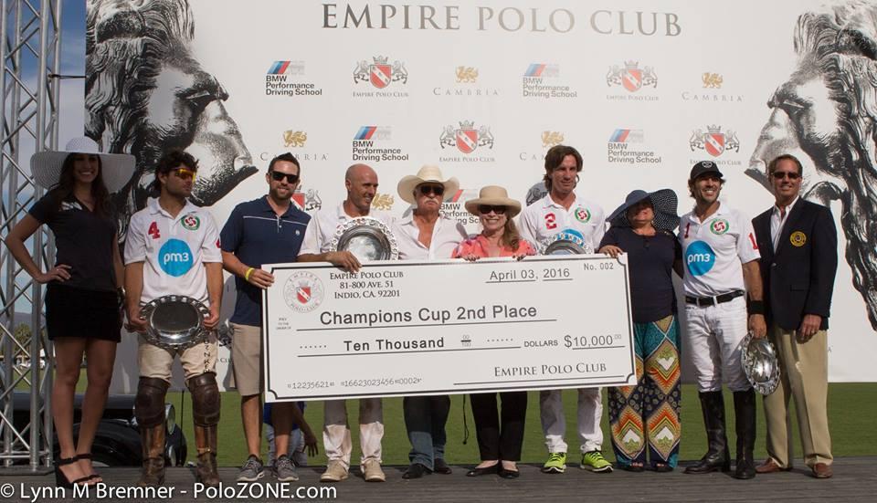 Lauburu Polo Team won 2nd Place and $10,000 in the USPA 6-8 Goal Champions Cup.  From left to right:  Doug Blumenthal, Rodrigo Salinas, Francisco Guinazu and Eduardo Perez.