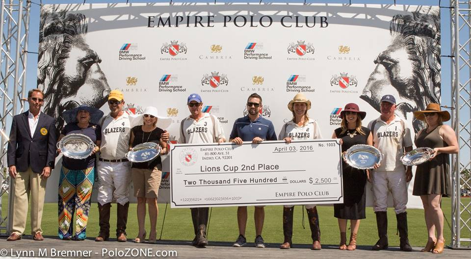 Blazers won 2nd Place in the USPA 4-Goal Lions Cup Finals and $2500.  From left to right:  Mondo Gonzalez, Kyle Fargey, Malia McCoy and Pat Powell.