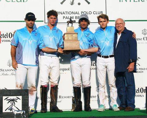 Aspen Valley wins the Hall of Fame Cup for the second consecutive year with (L to R)-Rodrigo Andrade, Juancito Bollini, Sebastian Merlos, Grant Ganzi and Director of the Museum of Polo and Hall of Fame, George Dupont. (Photo by Alex Pacheco)