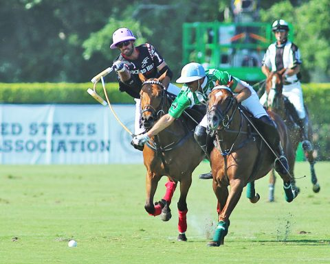 Ten on Ten, Argentine 10-goaler (from left to right): Facundo Pieres for Orchard Hill and Juan Martin Nero  battle for control of the ball.