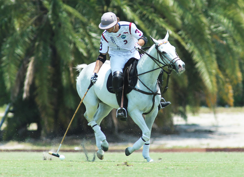 Twenty-year-old Tony Calle scored three goals in the final two chukkers as Dutta Corp. Blue downed Newport, 8-6, in the final of the Sun Cup at the Grand Champions Polo Club Sunday morning. (Photo by Alex Pacheco)