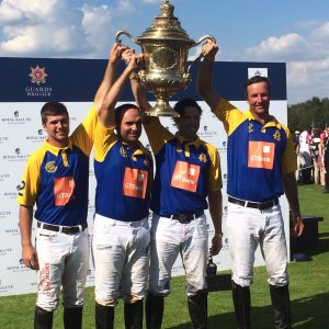 The Commonwealth team of (L to R) Chris Mackenzie, Hissam Ali Hyder, Freddie Mannix and John Paul Clarkin win the 2016 Coronation Cup by downing England, 12-11 at the Guards Polo Club Saturday afternoon.