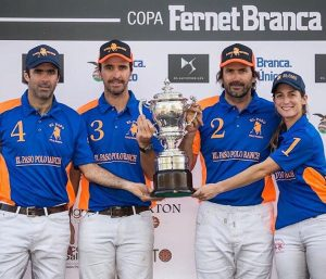 :a Dolfina wins the 2016 Jockey Club Open (L to R)-Juan Martin Nero, Pablo MacDonough, Adolfo Cambiaso and Lia Salvo, by beating La Aguada/Las Monjitas 16-12.